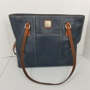 Dooney & Bourke Blue Pebbled Leather Shopper Bag